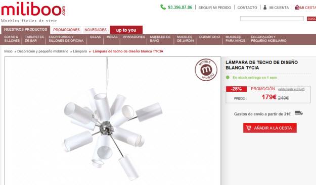 Comprar lámpara de techo barata en Miliboo