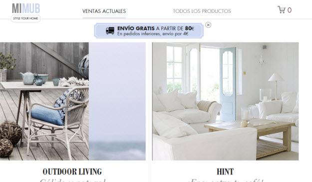 Ventas privadas de muebles online en Mimub