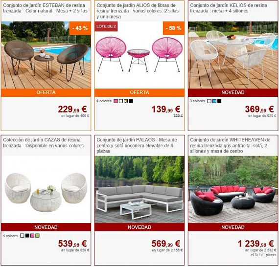 Muebles de jard n 2018 online a precios baratos y de dise o for Muebles de diseno online