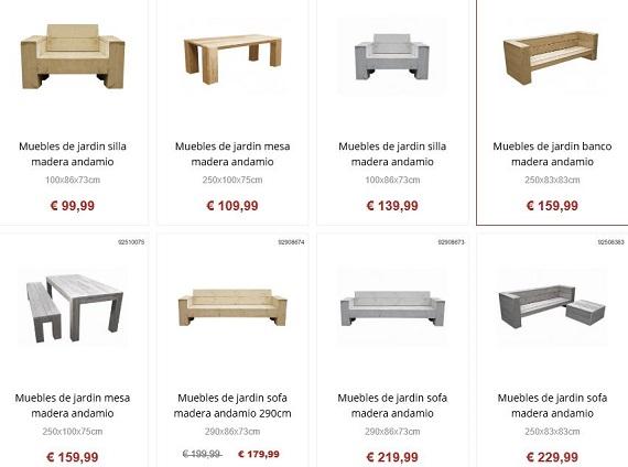 Muebles de jard n online a precios baratos y de dise o for Muebles de algarrobo precios